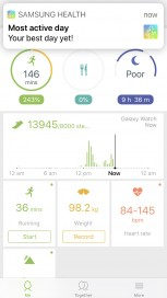 Samsung Health App layout All day HRM weekly overview Sleep tracking
