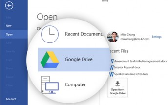 Now you can access your Google Drive documents directly from Microsoft Office