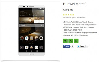 Listing reveals Huawei Mate S to come with Force Touch