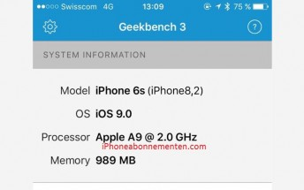 A Geekbench 3 screenshot suggests iPhone 6s may pack 1GB RAM