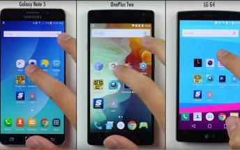 Speed test: Samsung Galaxy Note5 vs. OnePlus 2 vs. LG G4