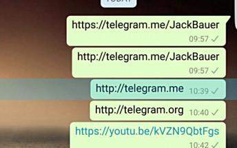 WhatsApp blocking Telegram links on Android