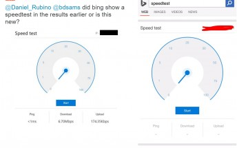 Microsoft Bing spotted showing network speed test results directly on search page