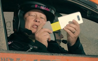 Watch the LG G5 unboxed inside a rally car on a dirt track, courtesy of T-Mobile