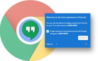 Chrome 51 has Cast functionality built-in, you can also mirror a tab into Hangouts
