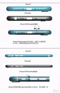 Alleged iPhone 7 vs iPhone 6s comparison schematics