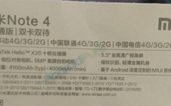 Redmi Note 4 confirmed to sport Helio X20 SoC, 4,100mAh battery