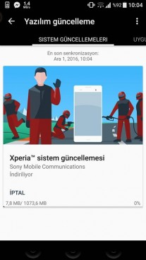 The update screen for Xperia XZ's Nougat firmware