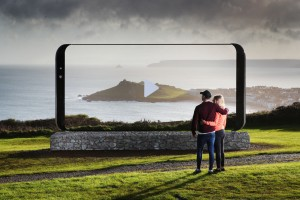 Viewed through the Galaxy S8 sculptures: St. Ives, Cornwall