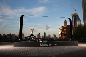 Viewed through the Galaxy S8 sculptures: London