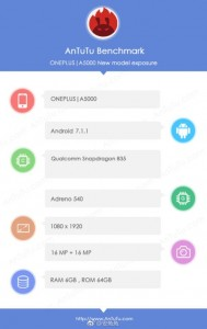 OnePlus 5 specs detected by AnTuTu
