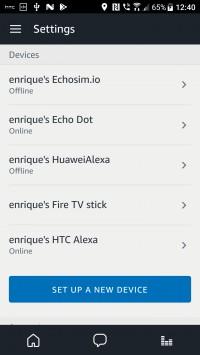 Amazon Alexa app list of devices
