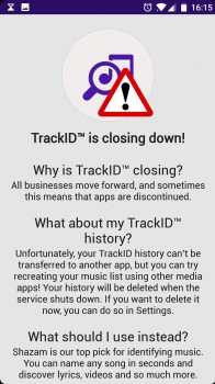 TrackID shutdown notice