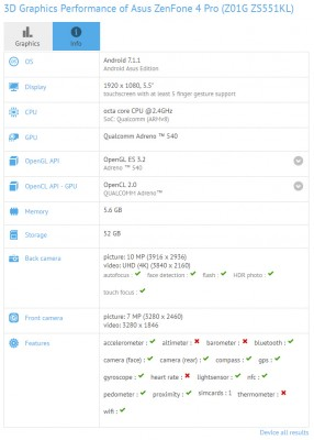 Asus Zenfone 4 Pro ZS551KL specs (detected by GFXBench)