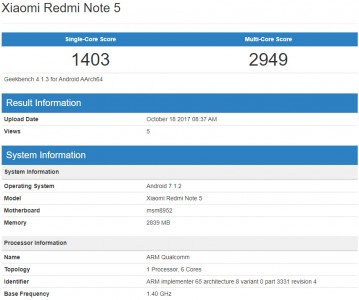 Xiaomi Redmi Note 5: Geekbench 4 scores