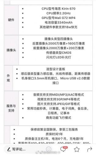 Alleged Huawei nova 3 specs