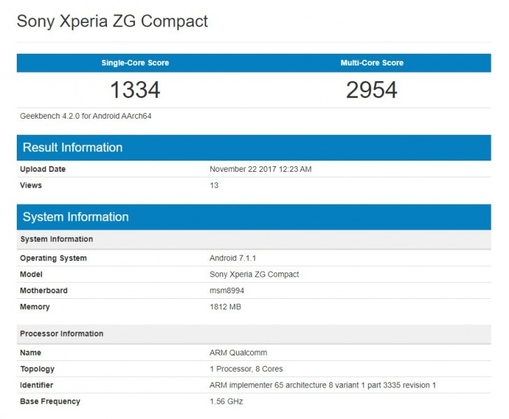 Mysterious Sony Xperia ZG Compact appears again on Geekbench