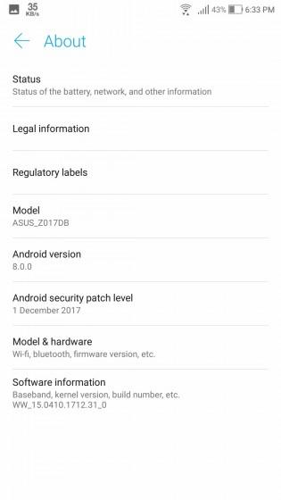 ASUS Zenfone 3 Oreo update