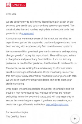 An email sent out to OnePlus customers
