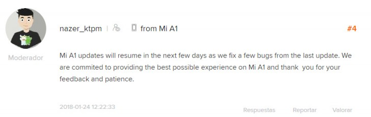 Oreo update for Xiaomi Mi A1 suspended again