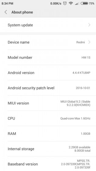Xiaomi Redmi 1S MIUI 9 screenshots