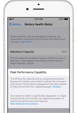 Battery health degraded