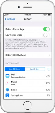 Battery Health option available within Settings > battery