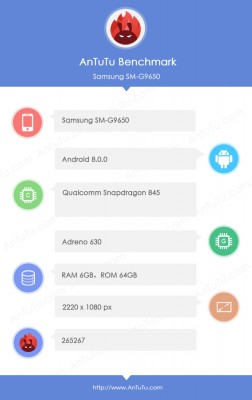 Samsung Galaxy S9+ (Snapdragon 845) specs and score on AnTuTu