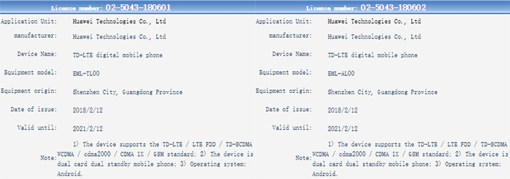Huawei P20 and P20 Plus submitted to TENAA