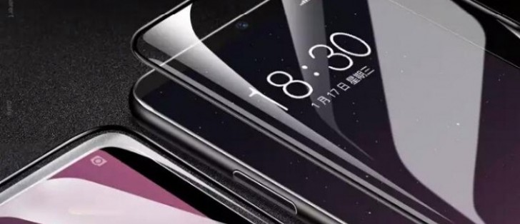 Dual-curved Meizu 15 Plus pictured with some screen protectors