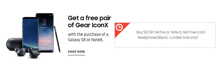 Deal: free pair of Gear IconX headphones with a Galaxy Note8 or S8 (US only)