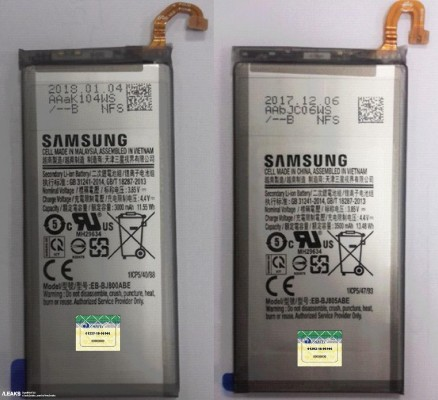 Batteries for the Galaxy J8 (left) and Galaxy J8+ (right)