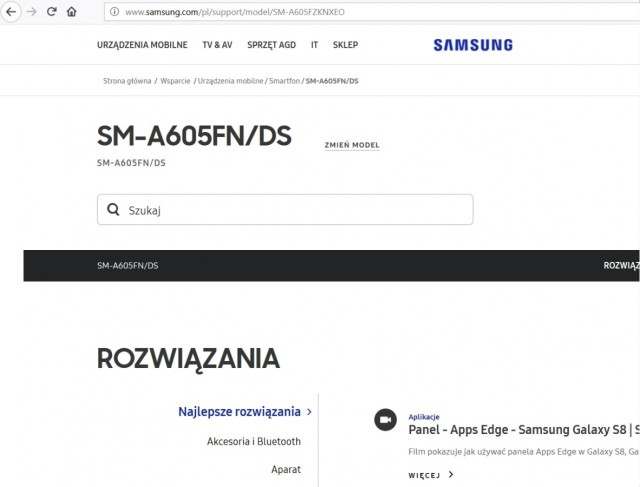 Screengrab from Samsung Poland's website