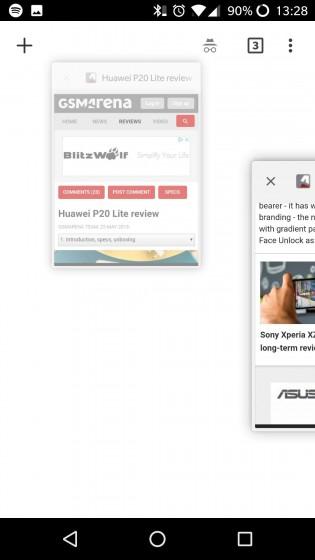 Google Chrome horizontal app switcher