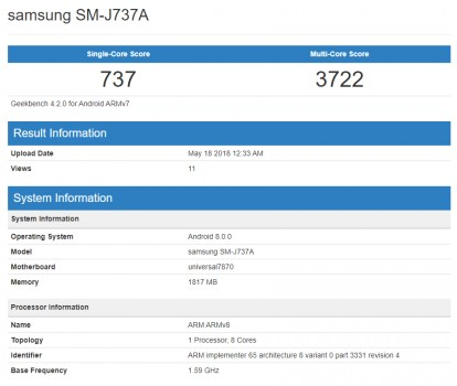 Potential Samsung Galaxy J7 (2018) (SM-J737A) spotted at Geekbench