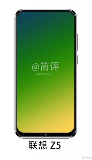 Renders of the Lenovo Z5 show the front-facing camera