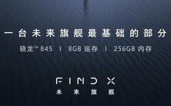 Oppo teases the Find X with SD845, 8GB of RAM and 256GB storage