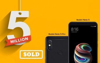 Xiaomi Redmi Note 5 and Redmi Note 5 Pro sales reach 5 million