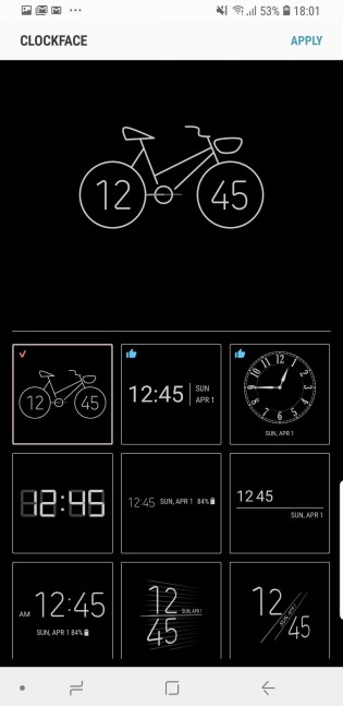Some of the available watch faces