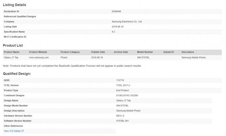 Samsung Galaxy J7 Top gets Bluetooth certification