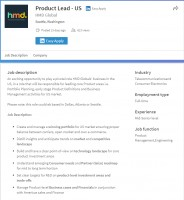 HMD's job postings on LinkedIn