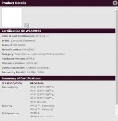 Galaxy J5 Prime and Galaxy Xcover 4 WiFi certification document