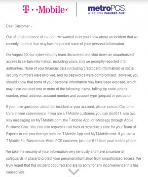 Message to affected customers from T-Mobile