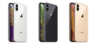iPhone Xs in three color versions: Silver, Space Gray and Gold