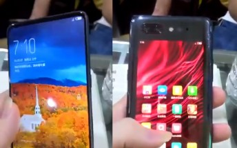 ZTE nubia Z18S shown on video with a second screen on its back