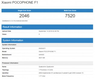 Pocophone F1 on GeekBench running Android 9 Pie