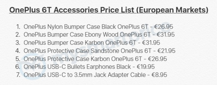 Prices of OnePlus 6T accessories leak