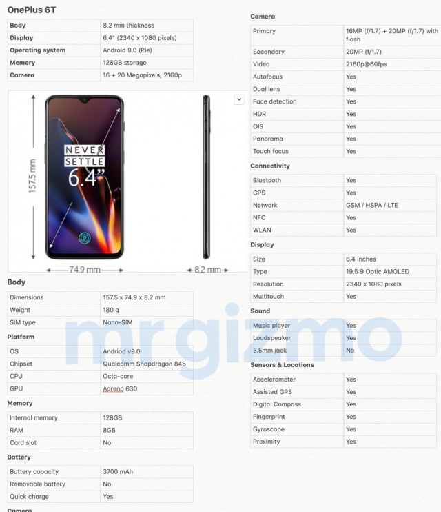 OnePlus 6T full specs and dimensions