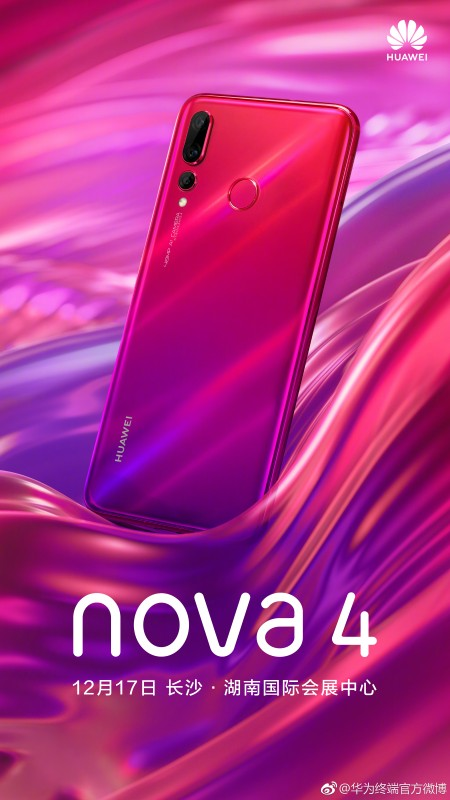 Huawei's official poster for the nova 4 in Red