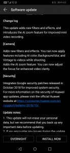 Huawei Mate 20 Pro update change log